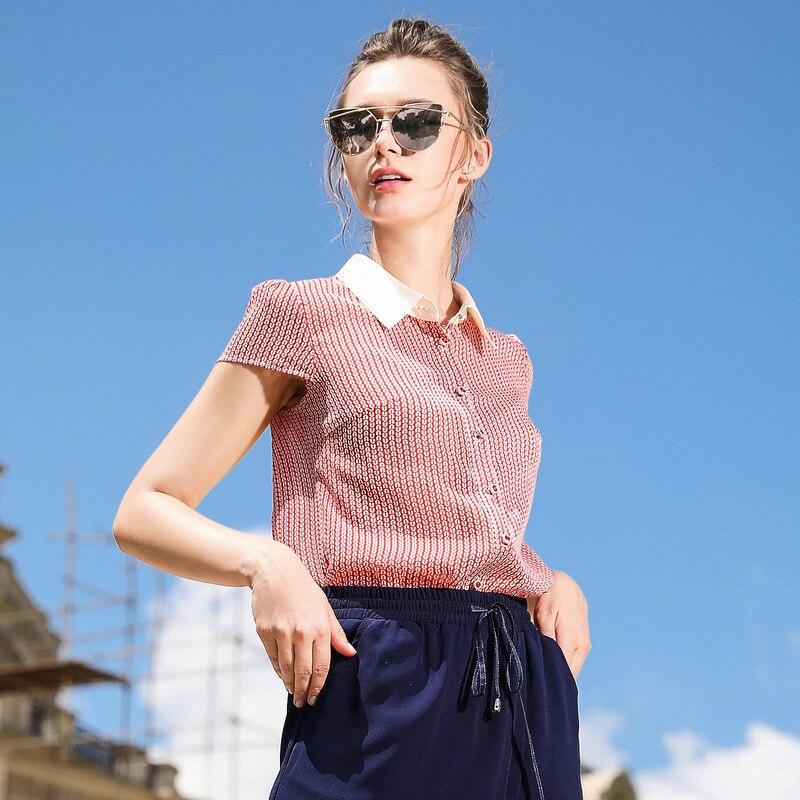 women Casual summer shirt short sleeve turn-down collar Bow shirt office lady blouse summer cloths Size X/5XL cloth
