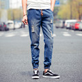 WEICHAO New Summer Ripped Jeans Men Drawstring Blue Denim Mens Joggers Pants Casual Streetwear Boys Hip Hop Biker Jeans Homme