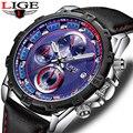 Часы LIGE мужские  спортивные  водонепроницаемые  кожаные  кварцевые  наручные  повседневные  модные  под платье