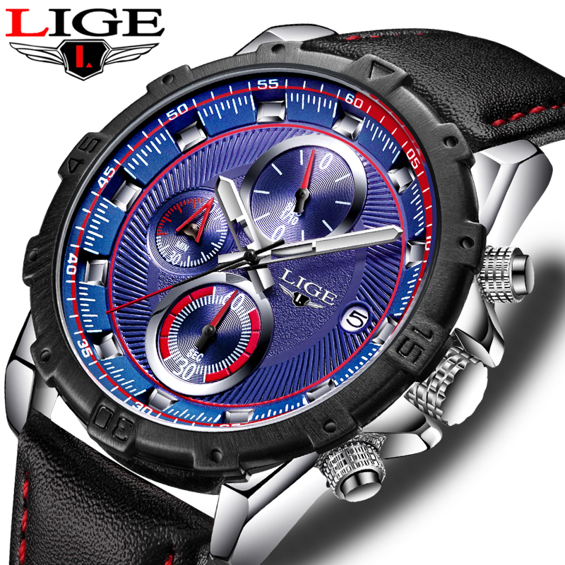 LIGE Top luxury Brand watches mens sport waterproof leather quartz wrist watch men Casual fashion dress Clock Relogio Masculino 2017 real eyki brand couple watches top luxury men s leather wrist lovers dress quartz watch waterproof relogio masculino