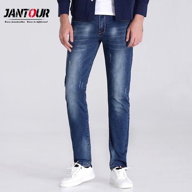 e26671d39 € 42.79 |Jantour 2018 lujo marca ropa azul skinny jeans hombres ee.uu.  bandera bordado Slim Casual Denim jean mans piel Pantalones Hombre  masculino ...