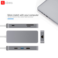 KOBWA Type C USB C Hub 7 in 1 Multiport USB 3.1 Type C to HDMI USB 3.0 SD/TF Card Reader PD Charging Adapter Converter for Mac