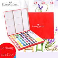 Faber-Castell 24/36/48Color caja de pintura de acuarela sólida con pincel Color brillante pigmento de acuarela portátil suministros de arte