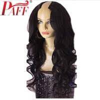 PAFF 250% densité U partie perruque cheveux humains vague de corps 2*4 taille pour les femmes avec brésilien Remy cheveux partie moyenne cheveux naturel