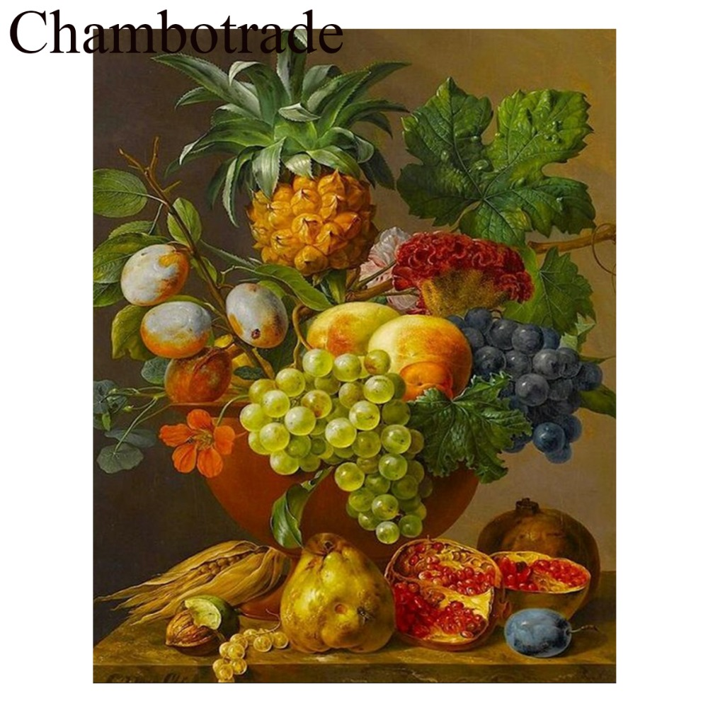 Chambotrade Fruit Vase still life Figure DIY Picture Frameless Number Linen Canvas Painting Acrylicpaint Landscape Home Decor in Painting Calligraphy from Home Garden