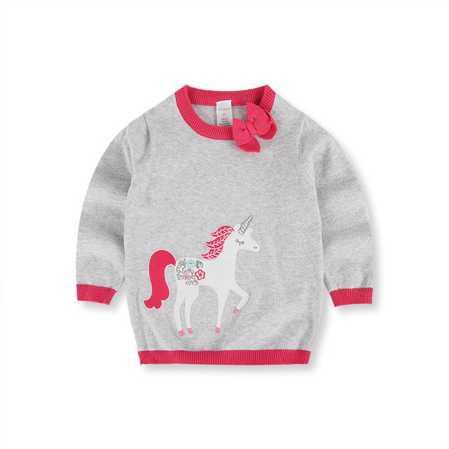 Autumn Full Sleeves Cute Cartoon Unicore Embroidery Girl's Sweaters Children's Knitting Shirts Baby Pullovers Kids Tops Clothes