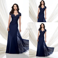 Custom Made 2017 Navy Blue Chiffon Mother Of The Groom Dresses with Short Sleeves Beaded Lace Long Evening Party Gowns