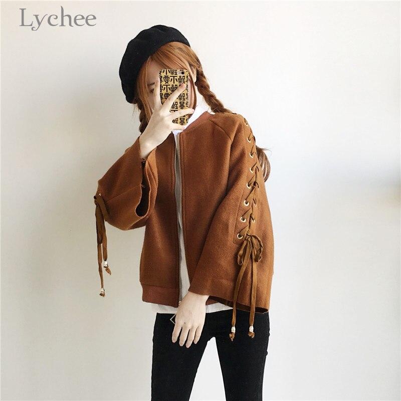 Lychee Harajuku Autumn Winter Women Jacket Lace Up Bandage Zipper Flare Sleeve Casual Loose Coat Female