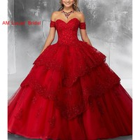 Red Ball Gown Quinceanera Dresses Prom Dress Sweet 16 Year Princess Dresses Birthday Party For 15 Years Vestidos De 15 Anos