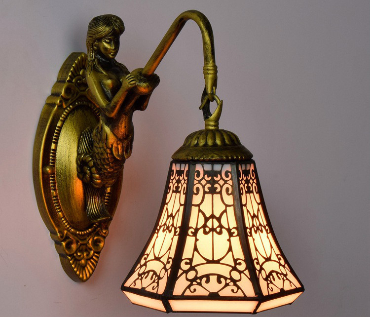 Turkish Tiffany Baroque Stained Glass Iron Mermaid wall lamp indoor lighting bedside lamps wall lights E27 tiffany baroque vintage stained glass iron mermaid wall lamp indoor lighting bedside lamps wall lights for home ac 110v 220v e27