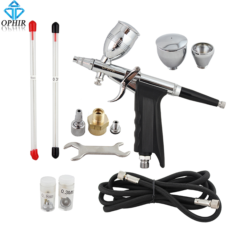 цена на OPHIR Dual Action Airbrush Gun/Air Brush Spray Touch-Up Auto Spray Gun Airbrush for Nail Art/Car/Model/Body Tattoo Tanning_AC069