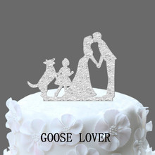 Man Woman Wedding Cake Topper, Family Wedding Cake Topper With Dog And Little Girl, German Shepherd Rustic Cake Topper, Vintage(China)