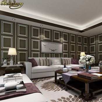 цена на beibehang wall paper Pune large square frame modern minimalist imported green non-woven wallpaper living room backdrop bedroom