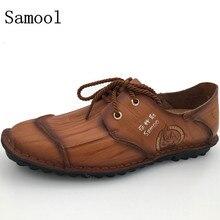 Мужские кожаные туфли Повседневная осень 2017 г. натуральная кожа мужские туфли-оксфорды Модные модельные туфли на шнуровке уличная Рабочая обувь Sapatos