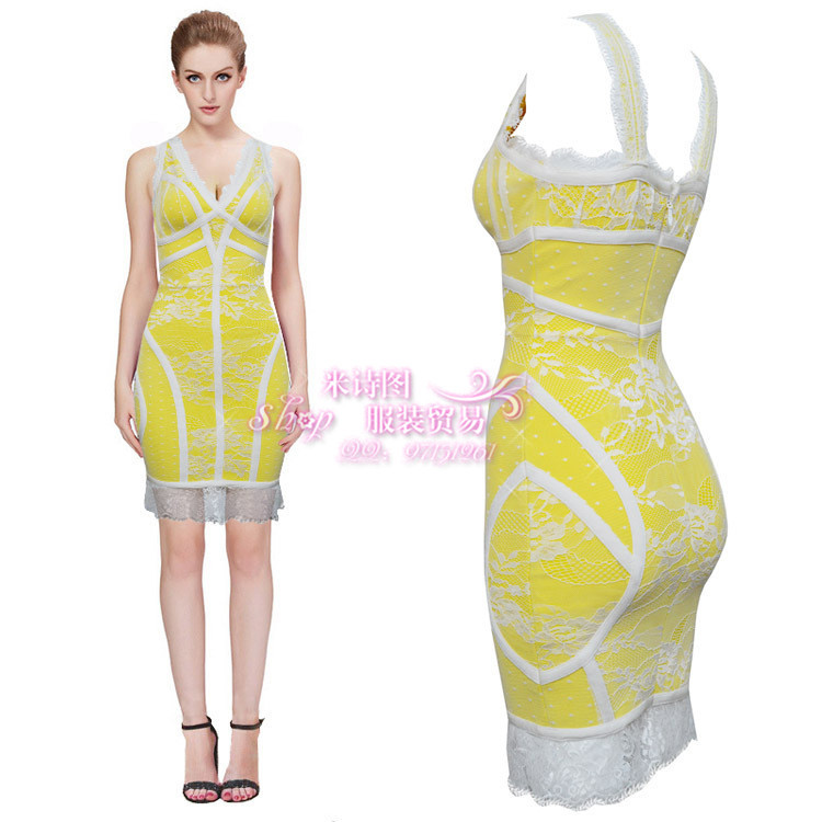 wholesale High quality New dress Yellow and white lace Slim Stretch Sexy Cocktail party Bandage dress (L0776)