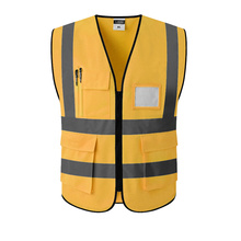 Gold Reflective Vest Safety Clothing Workplace Road Working Motorcycle Cycling Sports Outdoor Print LOGO #002