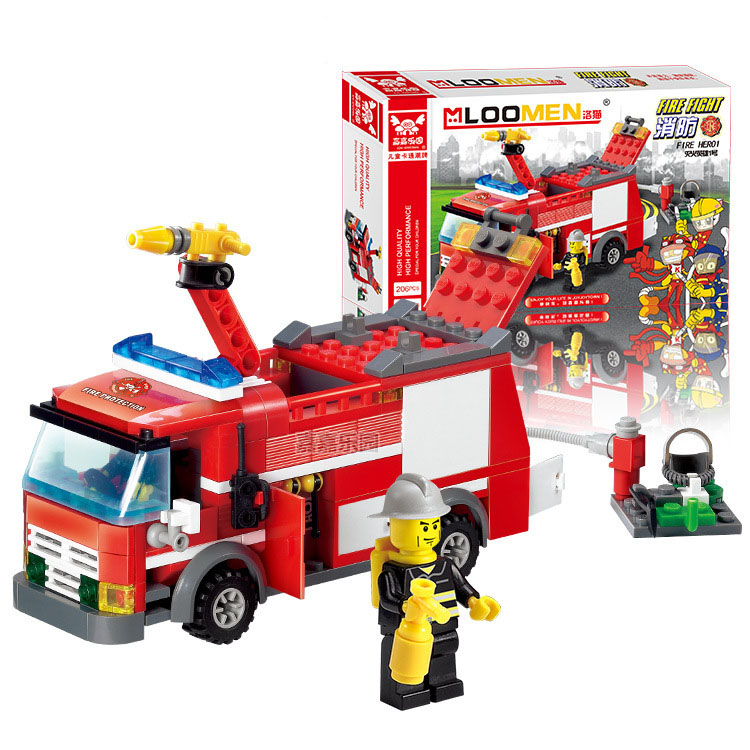 206PCS DIY Fire Fighting Truck & Equipment Building Blocks Plastic Toys Kit Small Partic ...