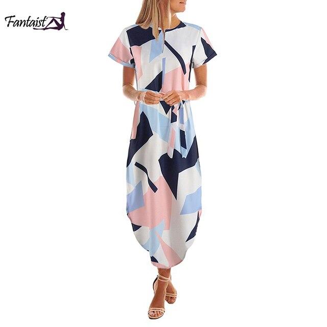 נשים קיץ 2018 Midi עגל שמלת שיפון גיאומטרי Fantaist Sashes שמלות משרד מסיבת חתונה שרוול קצר Loose הבוהמי