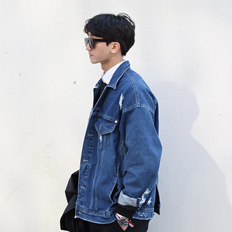 Aliexpress.com : Buy Ripped Denim Jacket Men Buttoned At Back Mens ...