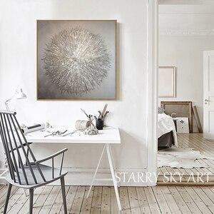 Image 2 - Artista de la pintura al óleo especial pintado a mano, cuchillo de plata de alta calidad, pintura al óleo gruesa, pintura al óleo moderna abstracta de plata gris