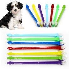1/5 pçs conjunto de escova de dentes de limpeza pet cabeça dupla cão gato limpador de dentes eficiente remoção de mancha escova de dentes cor aleatória