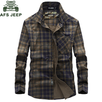 AFS JEEP Brand Military Shirt Men Plaid Chemise Homme Cotton Casual Cargo Men Shirt long Sleeve Soft Breathable Camisa masculina
