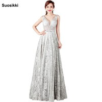 Vestido De Festa Evening Dress Robe De Soiree V Neck With Lace Appliques Long Party Evening