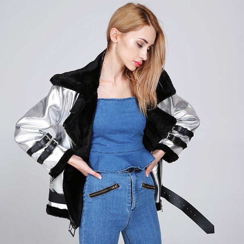 US $49.89 28% di SCONTO|Di inverno delle donne giacche di pelle Faux cappotto di pelliccia caldo D'argento del metallo di pane di colore delle signore