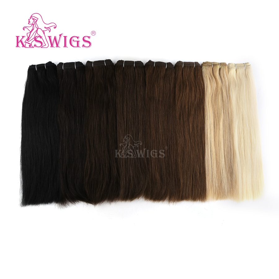 K.S WIGS 14'' Straight Double Drawn Hair Weave Bundles Remy Human Hair Weft 110g