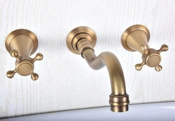 New Basin Set 3 Hole Antique Brass Double Cross Handle Wall Mounted Bathroom Sink Faucet Hot Cold Tap zsf513