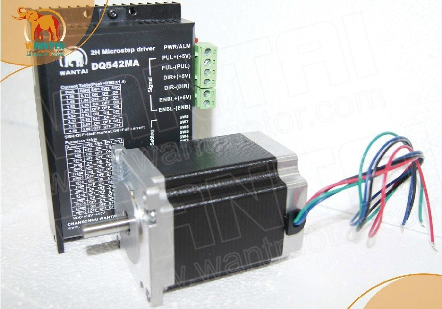 цена на Hot Sell! Wantai Nema23 Stepper Motor Single Shaft 57BYGH633 191oz-in+Driver DQ542MA 4.2A 50V 125Micro CNC Router Plasma Printer