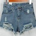 Moda 2016 mulheres verão novo Shorts jeans desgastado buraco fêmea Super Cool Shorts Vintage Ripped mulheres Shorts