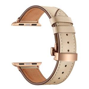 Image 2 - Dây da chất lượng cao dùng cho các Dòng Đồng Hồ Apple 4 44mm 40mm Hoa Hồng Vàng Bướm kẹp Dây Đeo dây đeo đồng hồ cho iWatch/3/2/42mm 38mm