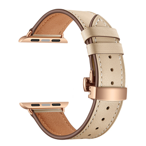 Image 2 - High quality Leather Band for Apple Watch Series 4 44mm 40mm Rose gold Butterfly clasp Strap watchband for iWatch 3/2/ 42mm 38mm