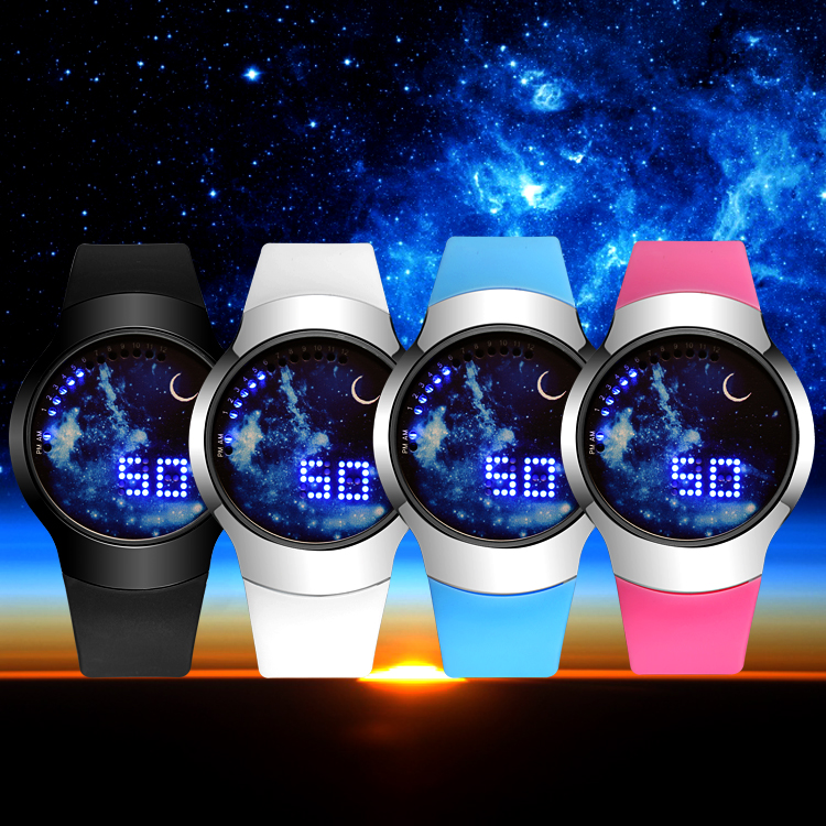 2016 New Fashion Starry Sky Touch Screen Watch Men Women LED Watches Casual Leather man Sports Wristwatches Relogio Masculino multifunction touch screen panel remote control tv dvd watch blue rectangle pu leather men watch relogio masculino