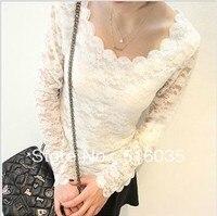 Free Shipping 2013 NEW Korean Women Lace Long Sleeve T Shirt Wavy Edge T Shirt White