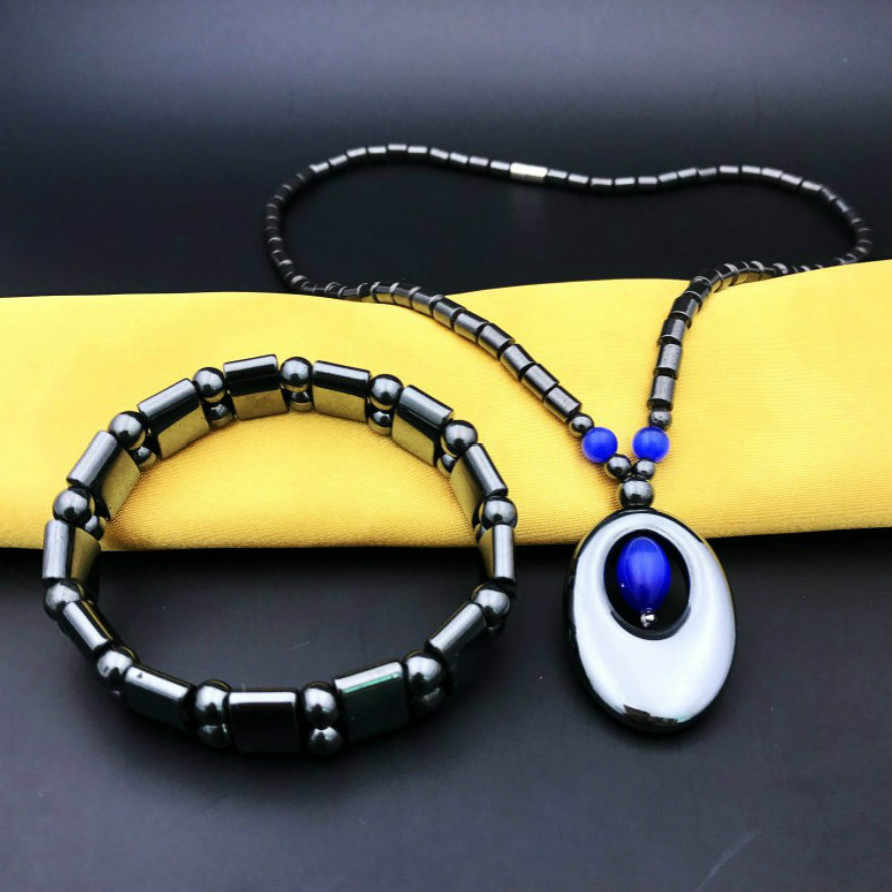 1 Pcs למכור אופנה מזהה צמידי שחור שיקום דרכים עתיקות סגנון חדש עיצוב גברים צמיד אבן מגנטי טבעי שחור