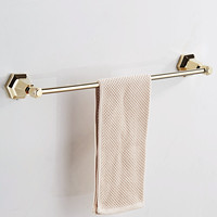 AUSWIND Vintage European Soild Brass Single Towel Bar Hexagonal Base Polish Gold Or Black Color Wall
