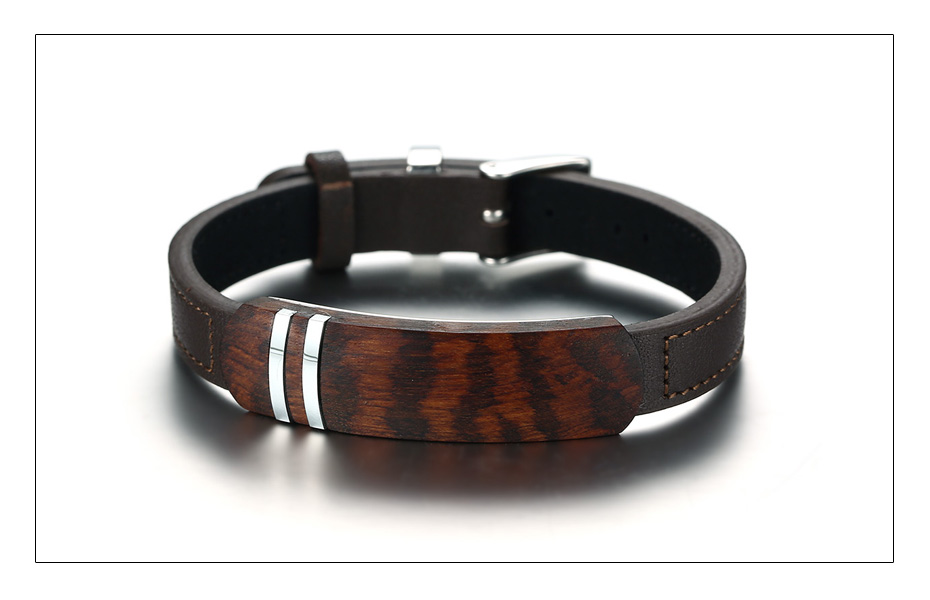 Meaeguet Brown Genuine Leather Charm Bracelets Men Top Quality Rosewood Plaque Bracelet Stainless Steel Jewelry 13mm Wide (4)
