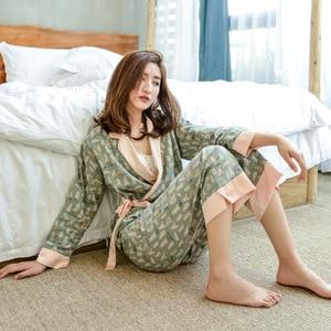 Image 3 - Herbst Langen Ärmeln 100% Baumwolle Pyjamas Schöne Cartoon Pijama Mujer Druck Pyjamas Frauen V ausschnitt Nachtwäsche Loungewear Pj Set