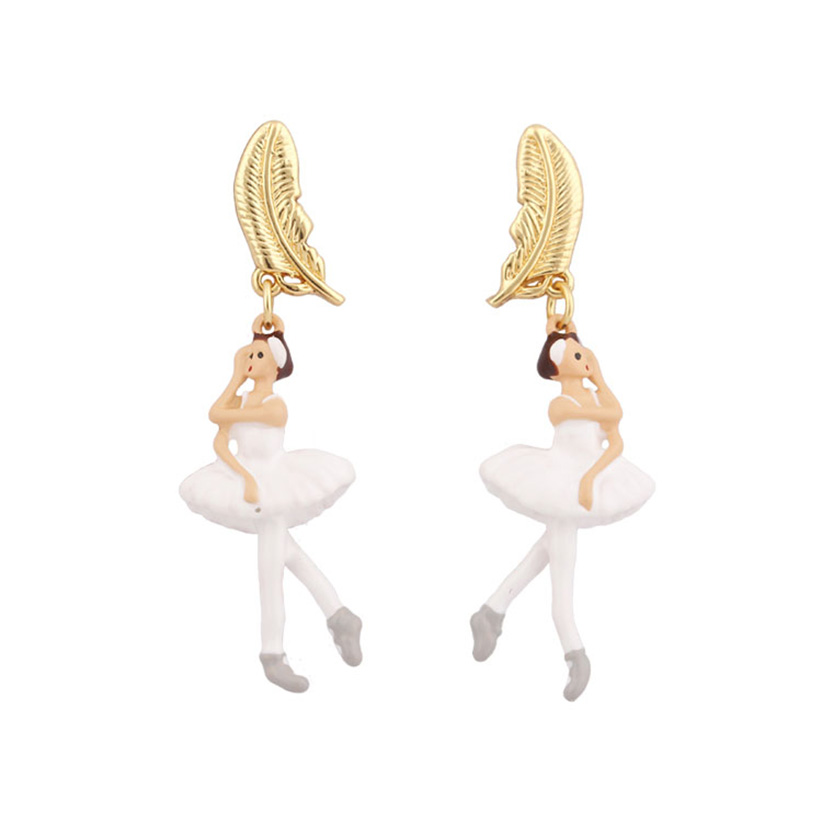 Ballet Girl White Skirt Gold Feather Leaf Earrings 2018 Fashion Jewelry Sieraden Joyas Jewellery Earings Kupe Brincos Oorbellen