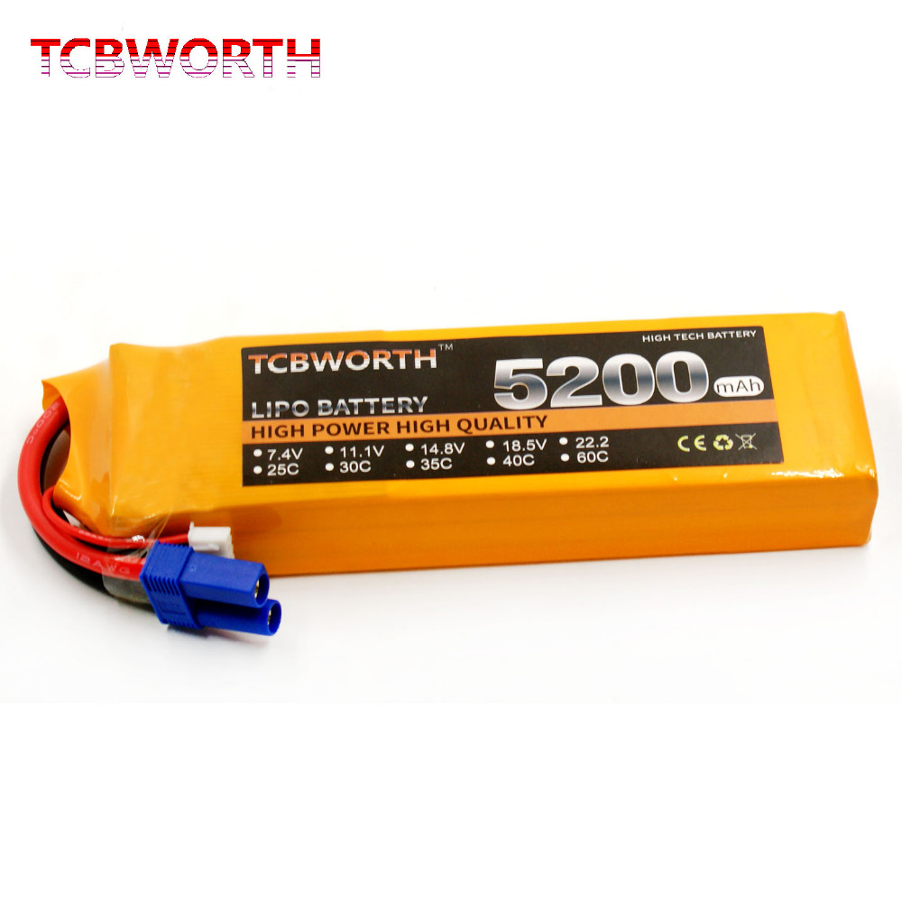 TCBWORTH RC Airplane LiPo battery 3S 11.1V 5200mAh 30C For RC Quadrotor AKKU Drone Li-ion battery 1s 2s 3s 4s 5s 6s 7s 8s lipo battery balance connector for rc model battery esc