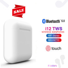 Wireless Headphones i12 TWS Bluetooth 5.0 Earphone Mini Earbuds 3D Stereo Earphones Music Headset pk i10 TWS For iPhone Xiaomi