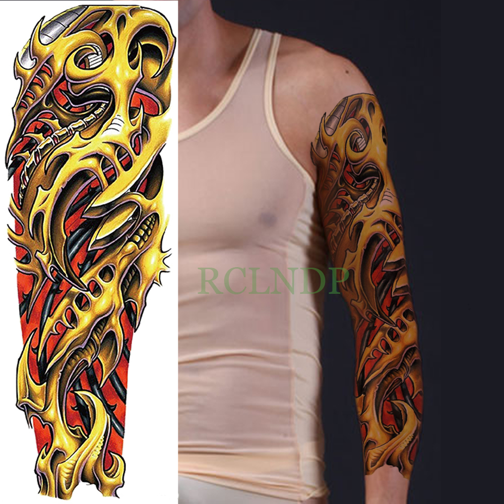 Temporary Tattoo Sticker Large Size Body Art Sketch Flower: Waterproof Temporary Tattoo Sticker Mechanics Cool Full