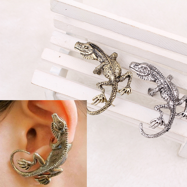 2pcs Punk Rock  Gothic Retro Alloy Lizard Ear Cuff Stud Clip On Earring Jewelry