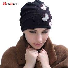 Мода Вышивка Теплый Hat Для Женщин Зимняя Шапка Хип-Хоп Вязаная Шапка Женщины Стразами Осень Cap Случайные Gorros Mujer зима