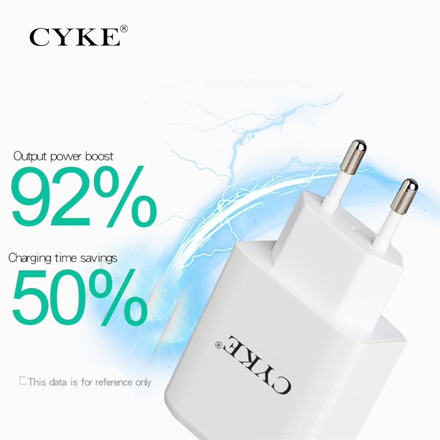 CYKE Portable 5V 3A 3Port USB Wall Travel Charger For Xiaomi mi 7 iphone X Phone USB Charger For huawai P20 Universal Adapter