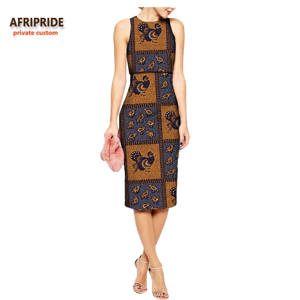 2018 african summer women 2 pieces suit AFRIPRIDE sleeveless top empire waist knee length skirt casual pure cotton suit A722656 in Women 39 s Sets from Women 39 s Clothing