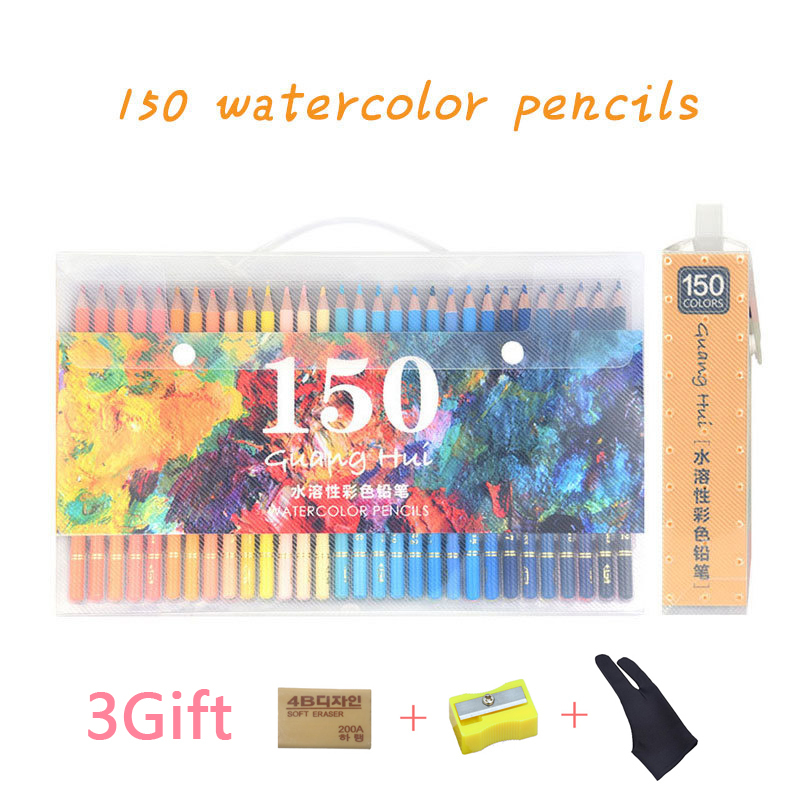 150 Color Pencil Soft Watercolor Pencils Wood Water Soluble Coloured Pencils Set For Drawing Painting Sketch Pastel Pencils 12 24 36 colors water soluble drawing color pencil set rotary watercolor pencils for drawing