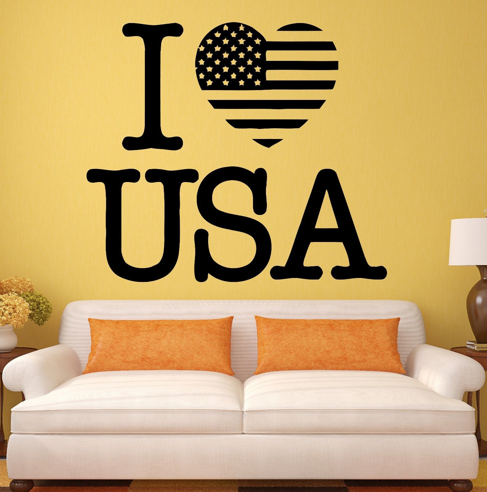 new USA Wall Stickers Decal I Love United States Patriot Flag Decor ...